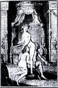 María Antonieta, su amante femenina y su hijo, en un grabado de la edición de 1795, de La filosofía en el tocador del marqués de Sade.